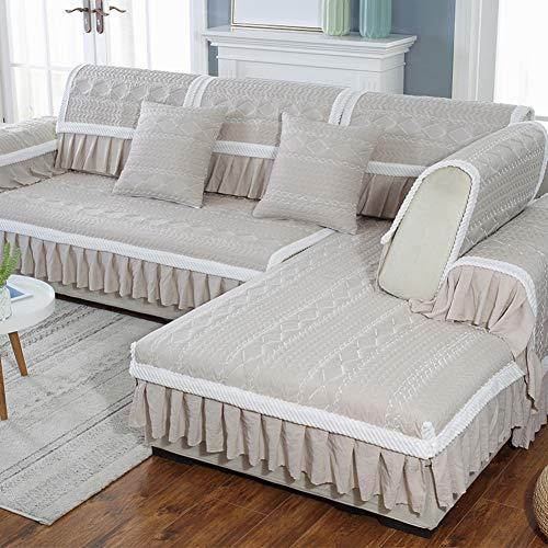 Gesteppter Schnitt Couch Husse Für Haustiere Kinder, Baumwolle Plüsch Multi-größe Sofa Abdeckung Sofabezüge Fenster-Kissen-pad Alle Jahreszeiten-d 35x83inch(90x210cm) - Baumwolle Kissen-abdeckungen Gesteppte