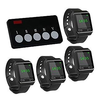 Drahtloser Ruf-Set für die Küche/Koch: 1 x Fünf-Tasten-Sender APE350 für die Küche & 4 x Wasserdichte Armbanduhr-Ruf-Empfänger APE6800