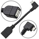 aLLreLi Micro USB to USB OTG Cable [LIFETIME WARRANTY] Right Angle, Micro USB Male to USB 2.0 Female Converter USB Host Adapter