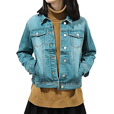 SHAREWIN Blue Denim Jacket for Women,Soft Womans Denim Jacket Long Sleeve, Ladies Jean Jackets Women Heavy Duty Washed Pocket Button Size S M L XL