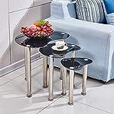 mecor Nest von Tabellen schwarz Glas Nesting Tables Satztische Couchtisch Beistelltisch mit Chrom Beine