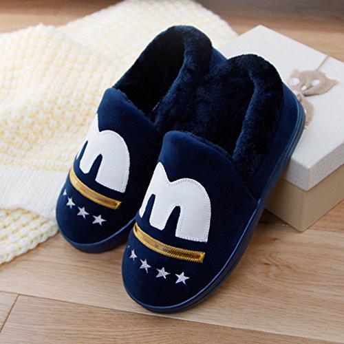 DogHaccd pantofole,Un paio di spessore caldo inverno soggiorno home il cotone pantofole pacchetto femmina con pantofole maschio base antiscivolo morbida Il blu4