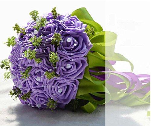 Simulations-Schaum-Rosen-Braut-Holding-Blumen, die Blumenstrauß-künstliche Blumen-Hochzeits-Geschenk Wedding sind ( Color : Lila )
