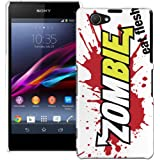 Sony Xperia Z1 Compact H�lle Hardcase (Harte R�ckseite) Case H�lle Cover - Zombie frisst Haut Design Muster Schutzh�lle f�r Sony Xperia Z1 Compact - Gr�n und Rot