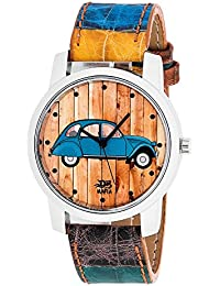 Wooum Car Printed Dial Casual Wrist Watch For MEn-415