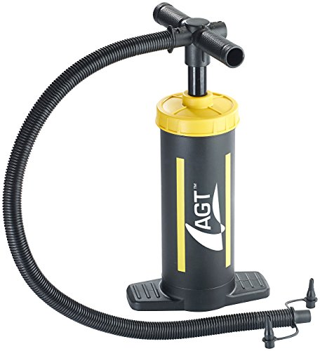 AGT NX-3759 Handluftpumpe: Doppelhub-Hand-Luftpumpe, 2 x 1,5 Liter Pumpleistung, 2 Ventilaufsätze (Doppelhubpumpe), schwarz -