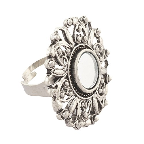 Zylph Fashion Adjustable Mirror Flower Ring for Women and Girls