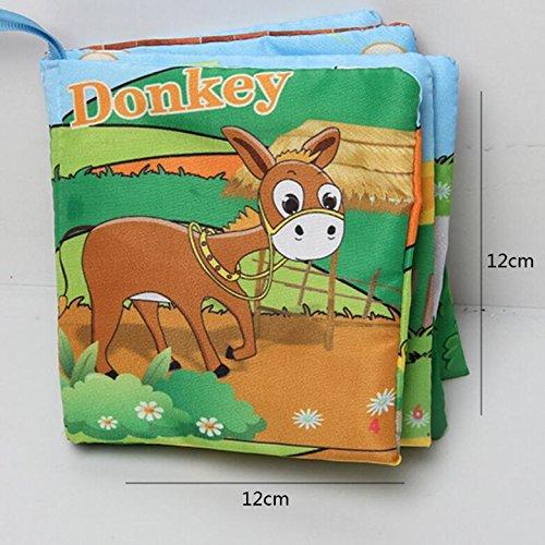 Achun Baby-Stoff-Buch-Niedliches Crinkly-Tier-Stickerei-Stoff-Buch-Baby-Intelligenz-Entwicklungs-Lernen