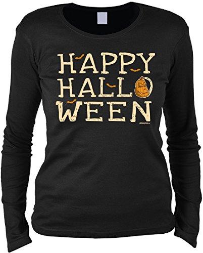 Tini - Shirts Halloween Langarmshirt Frau - Halloweenmotiv - Halloweenspruch : Happy Halloween - Damen Longsleeve Fledermaus Kürbis Sprüche Gr: M (Fledermaus Sprüche Halloween)