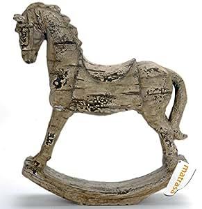 Cheval à bascule avec platine-pierre-figurine - 30 cm