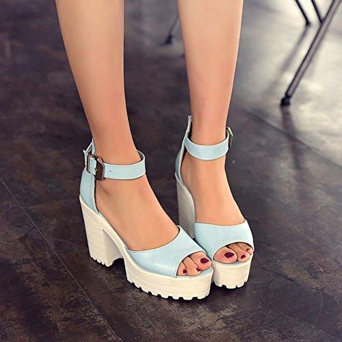 Aisun Femme Elégant Chunky Plateforme Sandales Avec Boucle Bleu