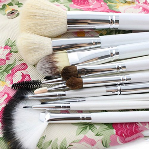 EmaxDesign 12 Piece Professional Make up Brush Set Goat Hair Wood Handle Foundation Blending Blush Eye Face Liquid Powder Cream Cosmetics Brushes Kits With Rose Pattern Case