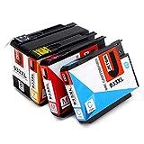 JETSIR Compatible Cartouches d'encre Replacement pour HP 932XL 933XL, Grande capacité Compatible avec HP Officejet 6100 6600 6700 7110 7610 7612 Imprimante,sauf 7510 7512 (1 Noir, 1 Cyan, 1 Magenta, 1 Jaune)