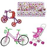 Fully 4tlg./Set Spielzeug für Barbie Puppen 1x Couch Sofa Sessel Kissen + 1X Kinderwagen + 1x Fahrrad + 1x Kinder Fahrrad