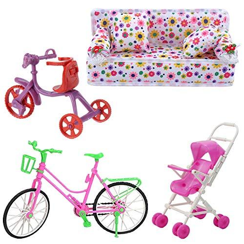 Fully 4 Pezzi / Set per Bambola Barbie 1x Divano Bello con Stampa Floreale con 2 Cuscini + 1x Passeggino per Neonato + 1x Bicicletta + 1x Bicicletta per Bambino