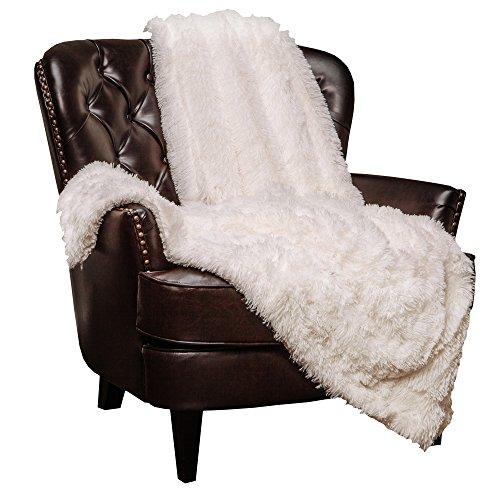 Chanasya Super Weichen Langen Shaggy Fuzzy Fell Webpelz warm elegant Cozy mit Flauschiger Sherpa Chic Überwurf Decke-Farbe Shaggy Kunstpelz, Polyester, weiß, 60x70 Inches (Fuzzy-decke Weiß)