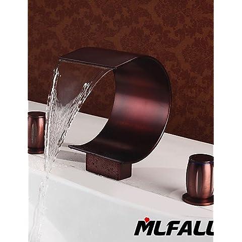 Marchi Mlfalls ottone lucido bronzo Oil-Rubbed Grande Cascata montate sul ponte vasca da bagno o vasca rubinetti semplice ed elegante classico di lusso e design resistente