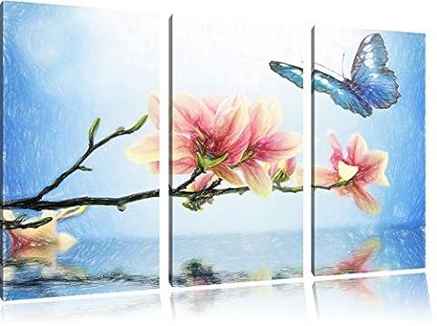 Papillon bleu avec Magnolia Blossom Art Crayon Effect 3 PC image toile l'image 120x80 sur toile, XXL énormes Photos complètement encadrées avec civière, impression d'art sur châssis murale gänstiger comme la peinture ou une peinture à l'huile, pas une affiche ou une