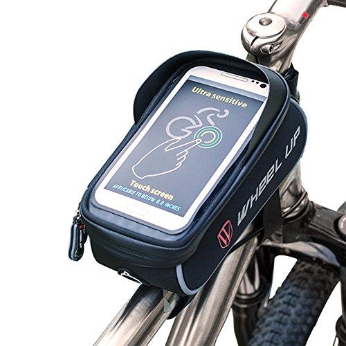 """Huntvp Fahrrad Rahmentaschen Top Tube Bag Wasserdicht Farhradlenkertasche Handy-Halterung Praktisch Frarradschnalletasche mit Sensitive Touch-Screen geeignet für Handy unten 6.0"""" Schwartz Stil 2"""