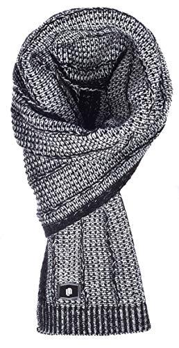 Leif Nelson Damen Herren Schal für Winter eleganter Winterschal moderner Dicker Schal Tracht Strickschal Strick Schwarz-Ecru