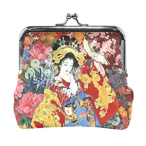 Geisha Mini (Japanese Geisha Girl With Flowers Brieftaschen Mini Geldbörse für Damen Mädchen Damen)
