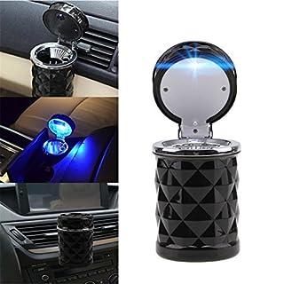 Possbay Aschenbecher, tragbar, für Auto, Büro, Zuhause, Reisen, mit LED-Beleuchtung