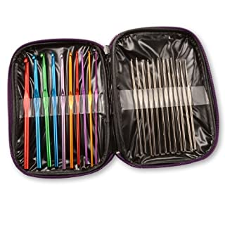 AKORD Crochet Hooks, Aluminium, Multi-Colour, 22-Piece