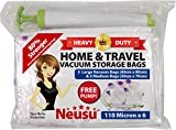 Neusu Home & Travel Heavy Duty Vacuum Storage Bag Saver Pack With Free Hand Pump - 6 x 110 Micron HD Vacuum Bags (3 L 60cm x 80cm & 3 M 50cm x 70cm) - Also Compatible With Any Vacuum Cleaner