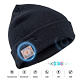Senza Fili Bluetooth Beanie Cappello, Cappello Lavorato a Maglia Musica con Stereo Sport all'Aria Aperta Sci Campeggio Escursionismo Giorno del Ringraziamento Regali di Natale (003B-Nero)
