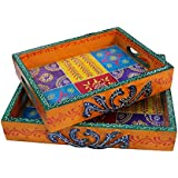 White Box Wooden Ethnic Serving Tray Set Of 2 For Tea Coffee Or Snacks For Dinning Traditional Handmade Handicraft Gift Item Home Table Wall Decor Pink City Rajasthani Handicraft Showpiece