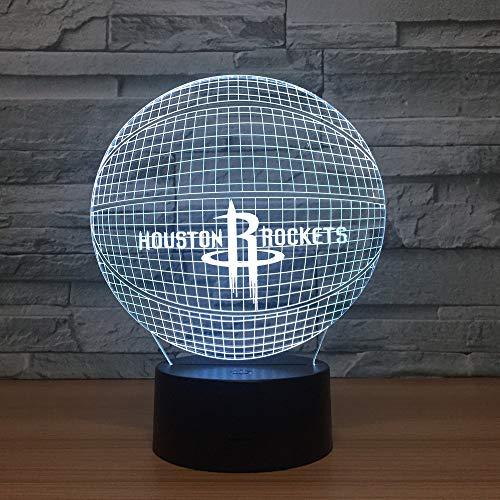 3D Lampe Licht Nachtlicht Illusion Houston Rockets 7 Farben Kinder Led Touch Fernbedienung Tisch Schreibtisch Lichter Farbwechsel Usb Geburtstagsgeschenke Optische Dekoration Lampen Houston, Usb