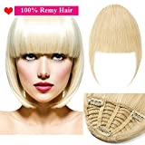 (7'=18cm,25g) Extension Frange Cheveux Naturel [3 Clips Anti-Glisse] Pose & Dépose Facile [ Blond Blanchi ]