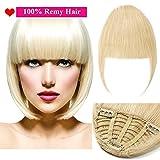 (7'=18cm,25g) Extension Frange Cheveux Naturel [3 Clips Anti-Glisse] Pose & Dépose Facile [ Blond Blanchi ]
