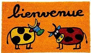 "Paillasson Orange ""Bienvenue "" Design 2 Vaches"