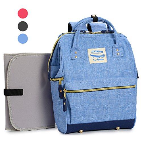 Geräumige Designer Baby-Wickeltasche von Moskka – Reisetasche, Windeltasche mit Befestigung für Kinderwagen, Wickelauflage & Isolierte Tasche, für Jungen – Blau (Leicht Tasche Geräumige, Zu Tragen)