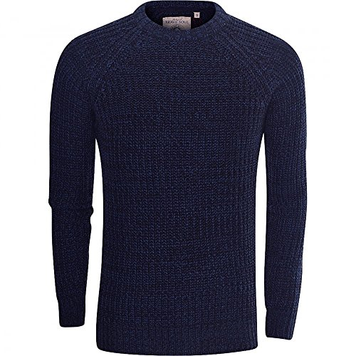 Brave Soul Mens High Quality 'Chunky Cable Knit' Jumper Pullover Winter Sweater Large Blue
