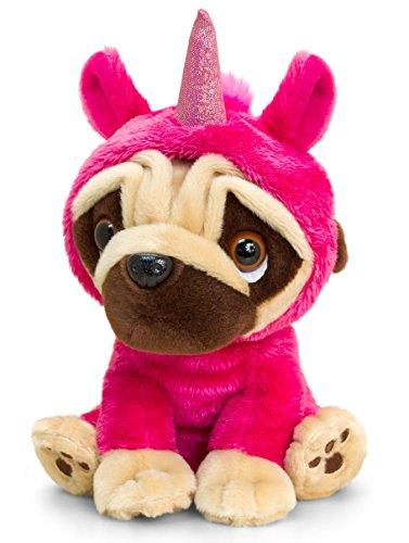 Lashuma Pinker Stofftier Mops mit Einhorn Kostüm, Plüschtier Hund 14 cm (Einhorn Kostüm Hund)