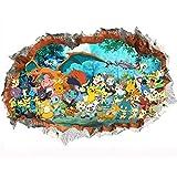 JUNMAONO 3D Pokemon Go Wandaufkleber/Wandgemälde/Wand Poster/Wandbild Aufkleber/Wandbilder/Wandtattoo/Pinupbild/Beschriftung/Pad einfügen/Tapete/Tapezieren/Tapeten/Wand Zeitung/Wandmalerei/Haftnotiz/Fühlen Sie sich frei zu kleben/Instant Aufkleber/3D-Stereo-Wandaufkleber