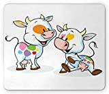 SHAQ Crazy Mouse Pad Tappetini per Il Mouse, Farmland Animals Cartoon Baby Cows with Colorful Spots Nursery Creature Illustration, Standard Size Rectangle Non-Slip Rubber Mousepad, Multicolor