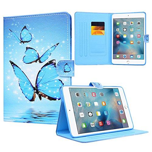 Yokata Apple iPad Mini 1 / Mini2 / Mini3 Hülle Case Schutzhülle Tasche mit Standfunktion und Auto Sleep / Wake Up Funktion Slim Ultra Dünn Hochwertiges PU Leder Etui Ledertasche für iPad Mini 1 / Mini2 / Mini3 (7,9 Zoll) Tablet Etui - Schmetterling (Blau)