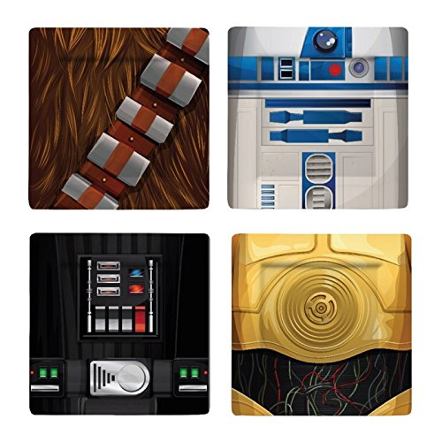 Star Wars I Am Chewbacca/R2-D2/C-3PO/Darth Vader Ensemble de plaque, Multicolore, Lot de 4