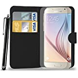 Samsung Galaxy S6 Leather Wallet Flip Case Cover Pouch & Touch Stylus Pen + Screen Guard & Cleaning Cloth - BLACK