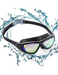 Occhialini da nuoto con montatura grande, Polarizzati. Occhialini da nuoto, anti-perdita, Anti-appannamneto Protezione UV Occhiali da nuoto Triathlon per adulti Uomini Donne Bambini Giovani Bebé