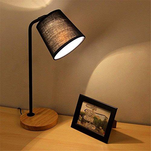 Schlafzimmer-set Kopfteil (Unbekannt Set Tischlampe-LED Schlafzimmer Kopfteil Massivholz Tischlampe,Schwarzes 5W LED warmes Licht)