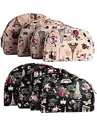MPK Perfect 4 In 1 Set Multipurpose Pouch Organizer Hand Bag Travel Kit - Set Of 2 (Black & Peach)