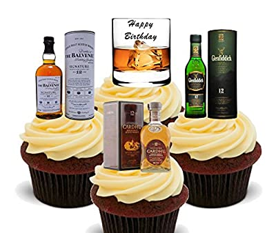 Happy Birthday, Whisky Lover Edible Cake Decorations - Stand-up Wafer Cupcake Toppers