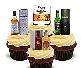 Made4You Joyeux anniversaire, amateur de whisky Décorations de gâteaux comestibles-montant comestible pour cupcakes, Pack of 24