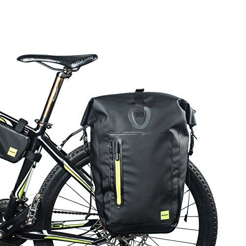 Rhinowalk Pannier Bag Borsa Posteriore Bici 25L Grande capacità Bicicletta Pannier Bag Impermeabile Mountain Bike Bag Leggero Sacchetto Bici 1000D Poliestere Anti-graffio Colore Nero