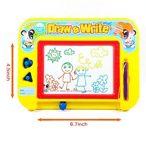 Magnetic Drawing Board by Kidolino - Drawing Board for Kids with 2 Stamps and 1 Pen - Travel Size by Kidolino