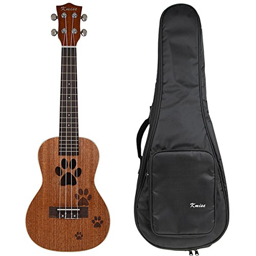 kmise-23-inch-concert-ukulele-uke-hawaii-guitar-mahogany-18-fret-carved-dogs-footprints-w-bag